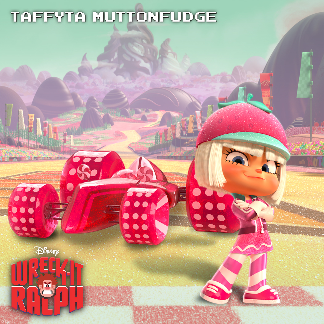 Taffyta Muttonfudge: Serious Competition The lollipop-lickin' Taffyta Muttonfudge is a top-notch racer in the game Sugar Rush. She is a fierce competitor who keeps her eyes on the prize and isn't afraid to derail anyone who gets in her way. Though King Candy is Sugar Rush's reigning racing champion, Taffyta always manages to give him a run for his money with her wicked driving skills.