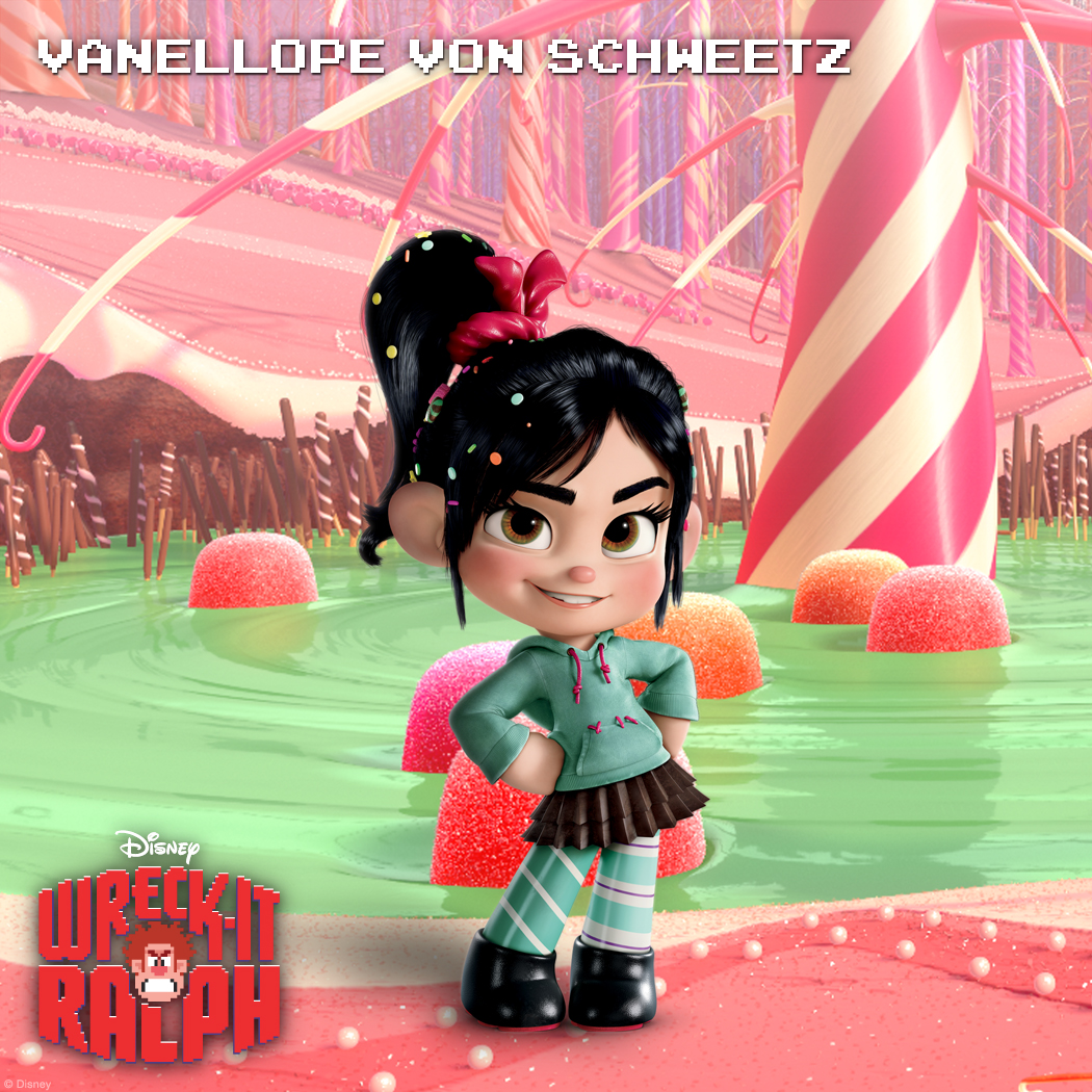 "Vanellope von Schweetz: Hard Candy Known as ""The Glitch,"" Vanellope is a pixelating programming mistake in the candy-coated cart-racing game Sugar Rush. With a racer's spirit embedded in her coding, Vanellope is determined to earn her place in the starting lineup amongst the other racers. Only problem: the other racers don't want her or her glitching in the game.  Years of rejection have left Vanellope with a wicked sense of humor and a razor-sharp tongue. However, somewhere beneath that hard shell is a sweet center just waiting to be revealed."