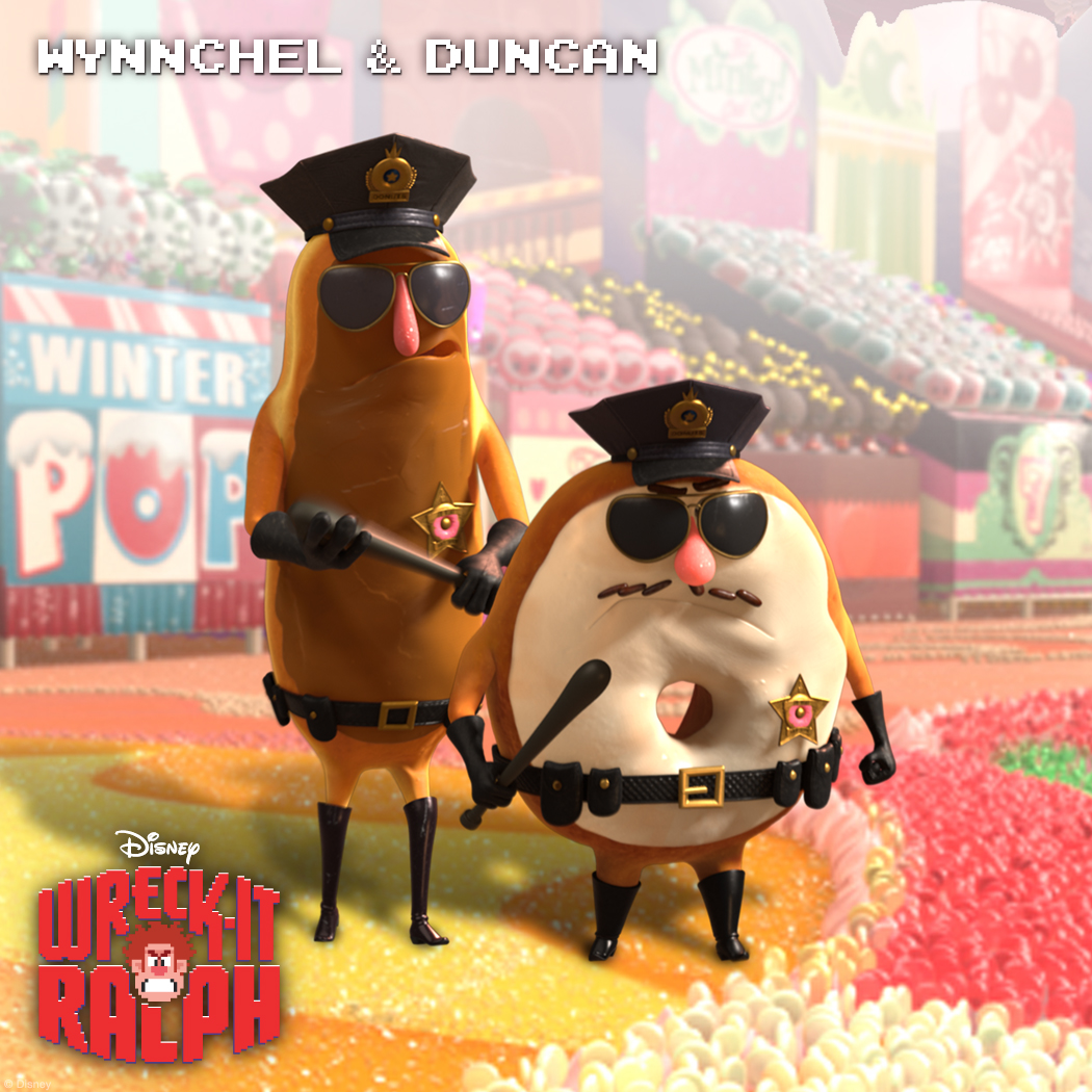 Wynnchel & Duncan: Strong-Arming Security Wynnchel and Duncan are King Candy's muscle, ensuring order in the Sugar Rush community. Just don't make 'em mad or their frosting might melt.