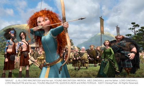 """BRAVE"" (L-R) LORD MACINTOSH and his son, YOUNG MACINTOSH; MERIDA, WEE DINGWALL and his father, LORD DINGWALL; LORD MacGUFFIN and his son, YOUNG MacGUFFIN; QUEEN ELINOR and KING FERGUS. ©2011 Disney/Pixar. All Rights Reserved."