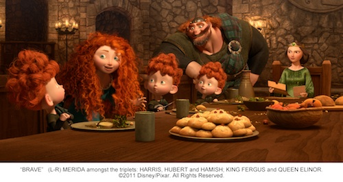 """BRAVE"" (L-R) MERIDA amongst the triplets: HARRIS, HUBERT and HAMISH; KING FERGUS and QUEEN ELINOR. ©2011 Disney/Pixar. All Rights Reserved."