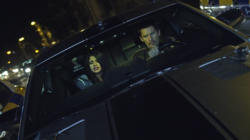 SELENA GOMEZ as Kid and ETHAN HAWKE as Brent in Dark Castle Entertainment and After Dark Films' action thriller GETAWAY, a Warner Bros. Pictures release.