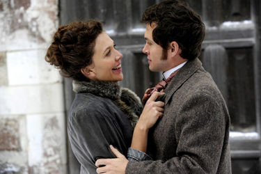 Hugh Dancy and Maggie Gyllenhaal in Hysteria. 2012 Sony Pictures Classics.