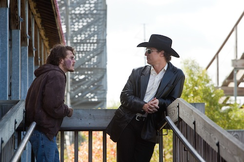 Matthew McConaughey as Joe and Emile Hirsch as Chris in Killer Joe