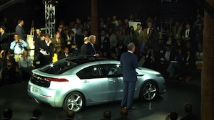 Bob Lutz with a Chevy Volt at a Press Event