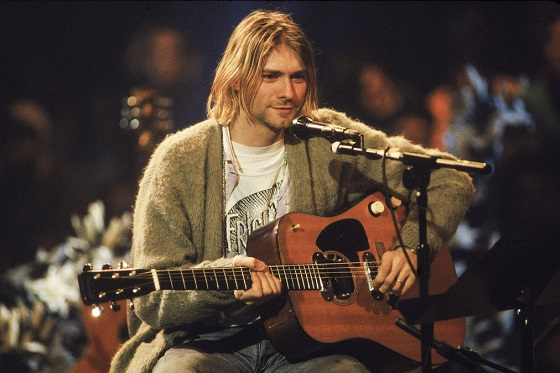 Kurt Cobain during the filming of Nirvana Unplugged - Courtesy of HBO Documentary Films