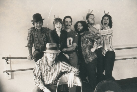 Garry Goodrow, Alice Peyton, Chris Guest, John Belushi, Peter Elbling, Chevy Chase and Tony Hendra in DRUNK STONED BRILLIANT DEAD: THE STORY OF THE NATIONAL LAMPOON, a Magnolia Pictures release. Photo courtesy of Magnolia Pictures. Photo credit: Michael Gold