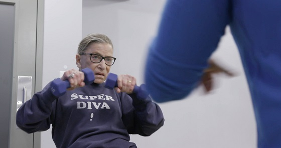 Justice Ginsburg mid workout routine in RBG, a Magnolia Pictures release. Photo courtesy of Magnolia Pictures.