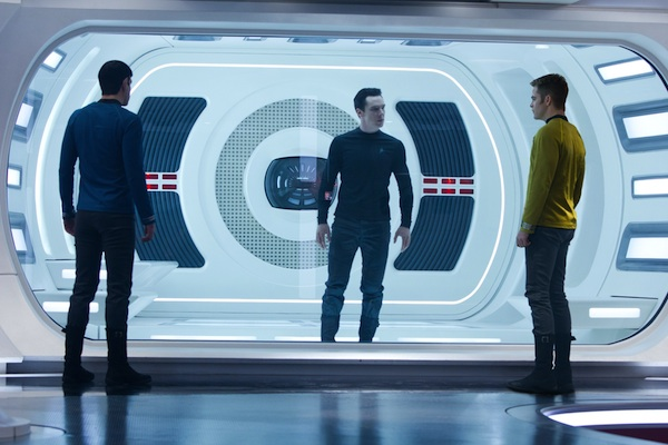 Zachary Quinto is Spock, Benedict Cumberbatch is John Harrison and Chris Pine is Kirk in STAR TREK INTO DARKNESS from Paramount Pictures and Skydance Productions.