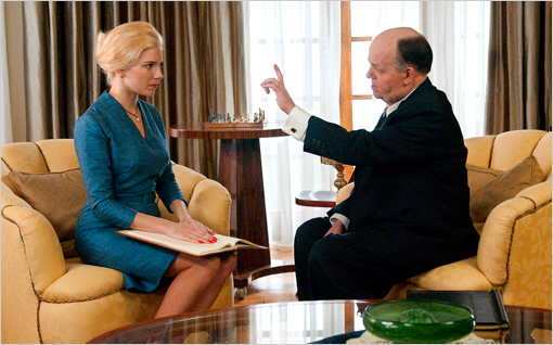 Toby Jones as Alfred Hitchcock and Sienna Miller as Tippi Hedren in HBO's The Girl