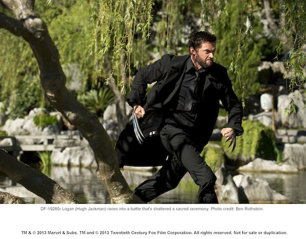 Logan (Hugh Jackman) races into a battle that´s shattered a sacred ceremony. Photo credit: Ben Rothstein.