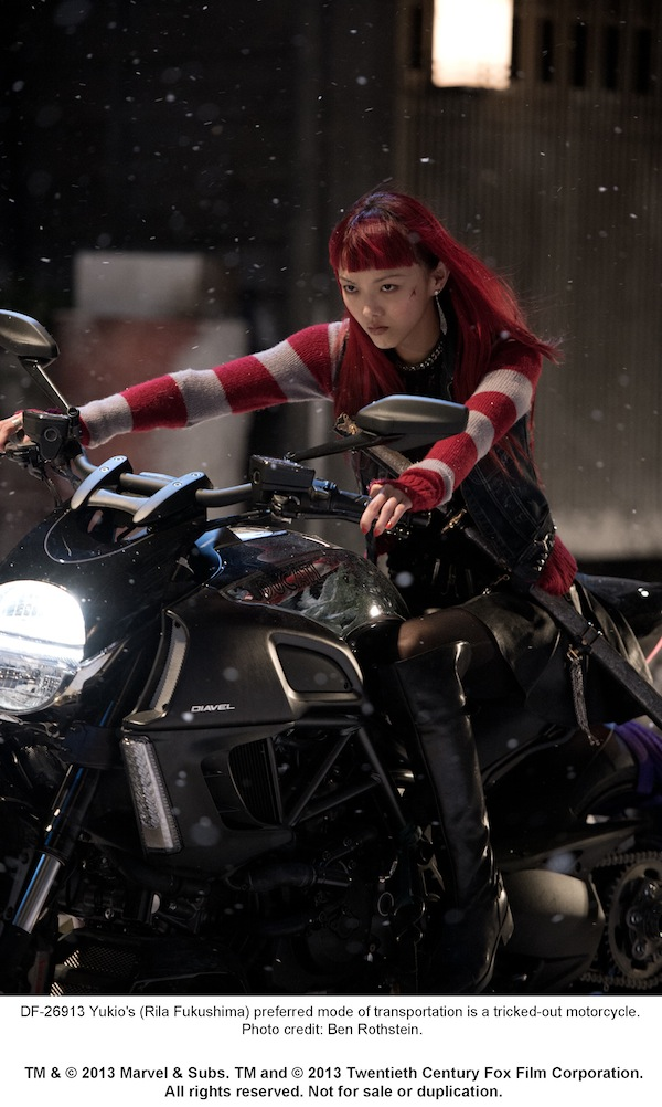 Yukio´s (Rila Fukushima) preferred mode of transportation is a tricked-out motorcycle. Photo credit: Ben Rothstein.
