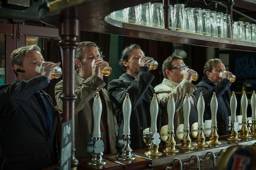 Martin Freeman as Oliver, Paddy Considine as Steven, Simon Pegg as Gary, Nick Frost as Andy, and Eddie Marsan as Peter in Edgar Wright's THE WORLD'S END, a Focus Features release.  Photo Credit: Laurie Sparham / Focus Features
