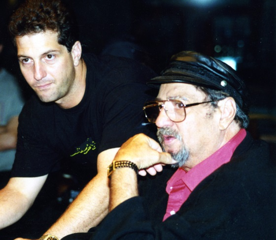 Director Denny Tedesco with his father Tommy Tedesco in THE WRECKING CREW, a Magnolia Pictures release.  Photo courtesy of Magnolia Pictures.