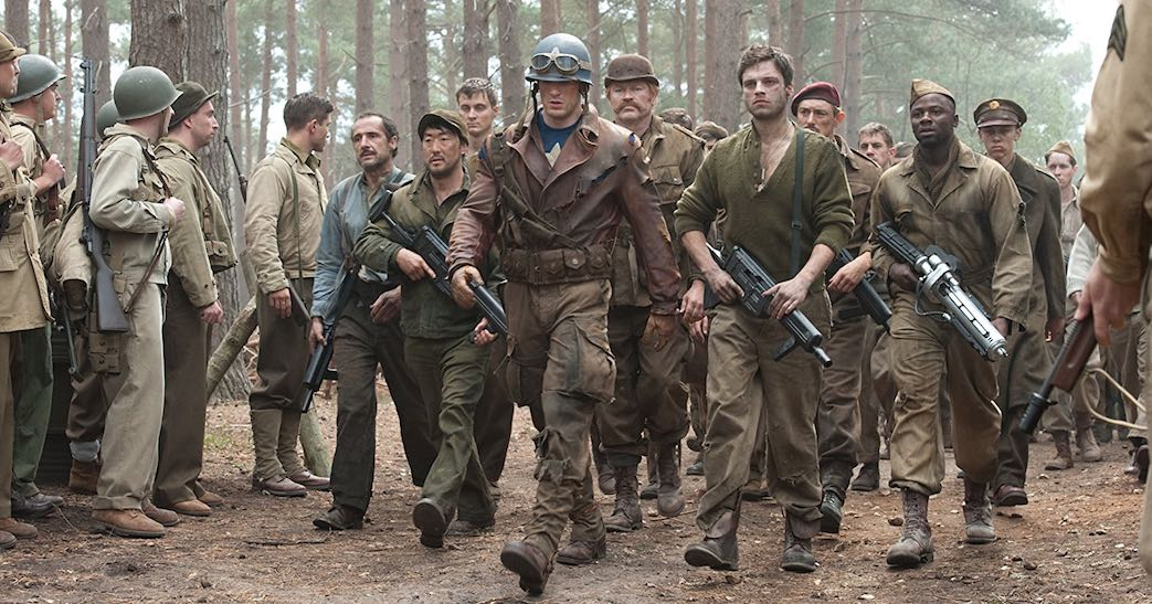 Kenneth Choi, Chris Evans, JJ Feild, Neal McDonough, Bruno Ricci, Derek Luke, and Sebastian Stan in Captain America- The First Avenger (2011)