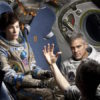 Sandra Bullock, Alfonso Cuarón, and George Clooney on the set of Gravity.