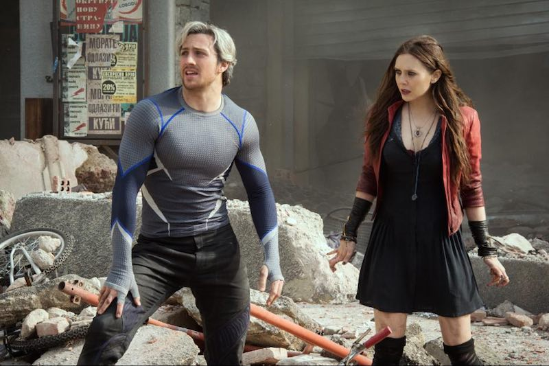 Elizabeth Olsen and Aaron Taylor-Johnson in Avengers- Age of Ultron (2015)