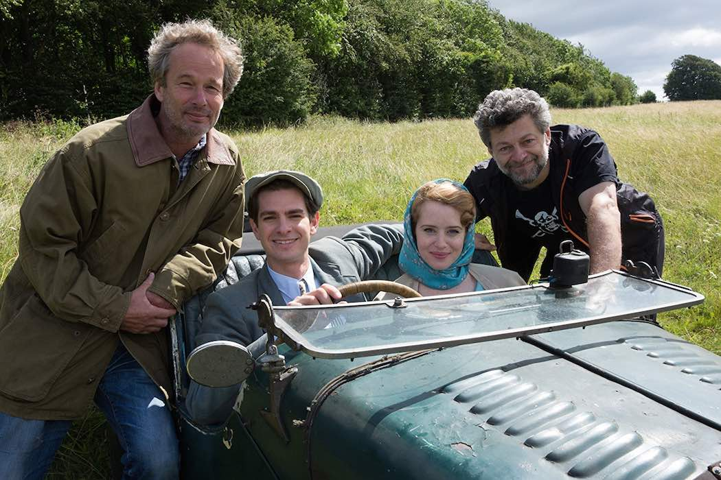 Jonathan Cavendish, Andy Serkis, Andrew Garfield, and Claire Foy on the set of Breathe (2017)