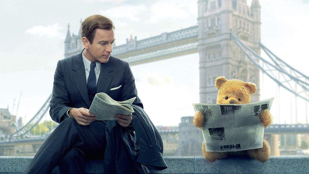 Ewan McGregor and Jim Cummings as Winnie the Pooh in Disney's Christopher Robin movie (2018)
