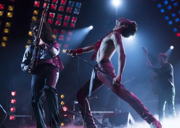 Gwilym Lee (Brian May), Rami Malek (Freddie Mercury), and Joe Mazzello (John Deacon) star in Twentieth Century Fox's BOHEMIAN RHAPSODY. Photo Credit: Courtesy Twentieth Century Fox.