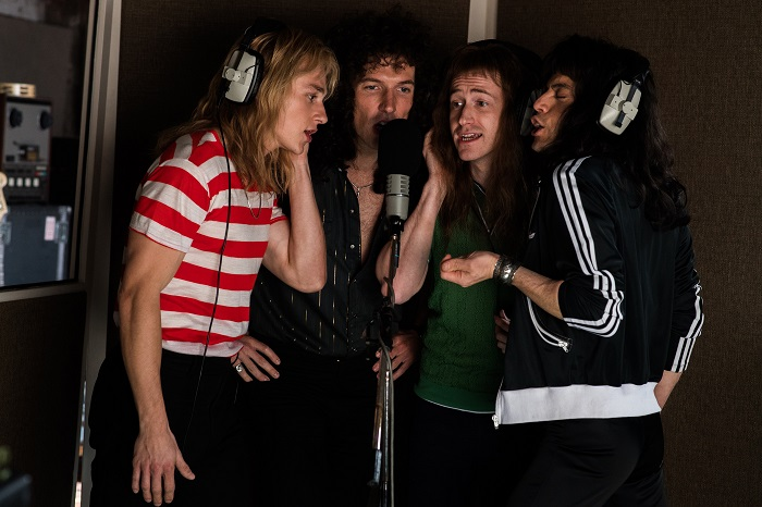 L-R: Ben Hardy (Roger Taylor), Gwilym Lee (Brian May), Joe Mazzello (John Deacon), and Rami Malek (Freddie Mercury) star in Twentieth Century Fox's BOHEMIAN RHAPSODY. Photo Credit: Alex Bailey.