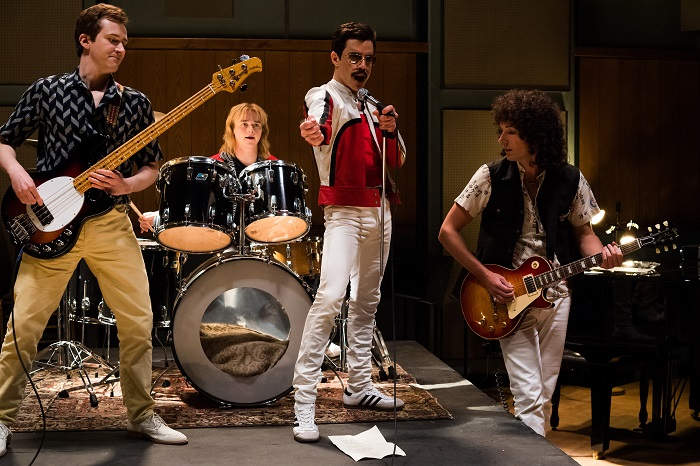 L-R: Joe Mazzello (John Deacon), Ben Hardy (Roger Taylor), Rami Malek (Freddie Mercury), and Gwilym Lee (Brian May) star in Twentieth Century Fox's BOHEMIAN RHAPSODY. Photo Credit: Alex Bailey.
