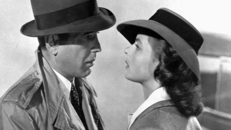 Humphrey Bogart and Ingrid Bergman in Casablanca.