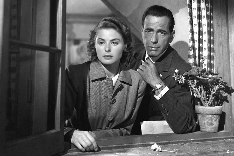 Humphrey Bogart (Rick) and Ingrid Bergman (Ilsa) in Casablanca.