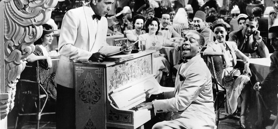 Humphrey Bogart (Rick) and Dooley Wilson (Sam) in Casablanca.