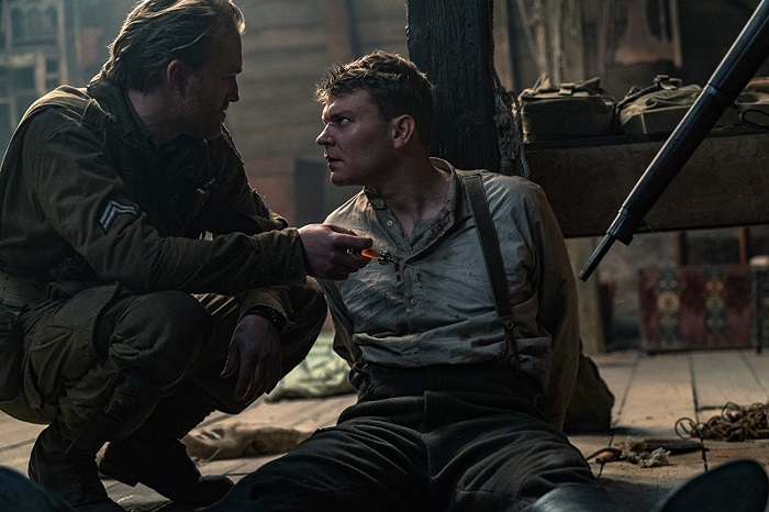 Wyatt Russell and Pilou Asbaek in Overlord, courtesy Bad Robot/Paramount Pictures.