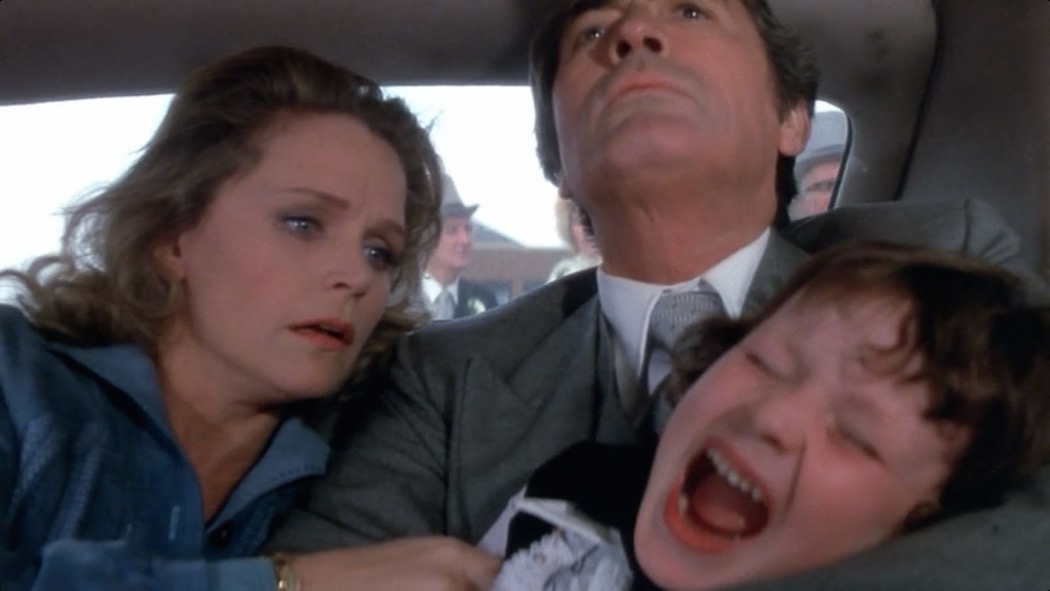 Gregory Peck, Lee Remick, and Harvey Stephens in The Omen (1976)