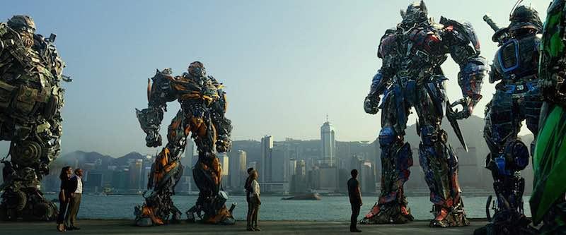 Mark Wahlberg, John Goodman, Stanley Tucci, Peter Cullen, John DiMaggio, Bingbing Li, Ken Watanabe, Nicola Peltz, and Jack Reynor in Transformers Age of Extinction (2014)