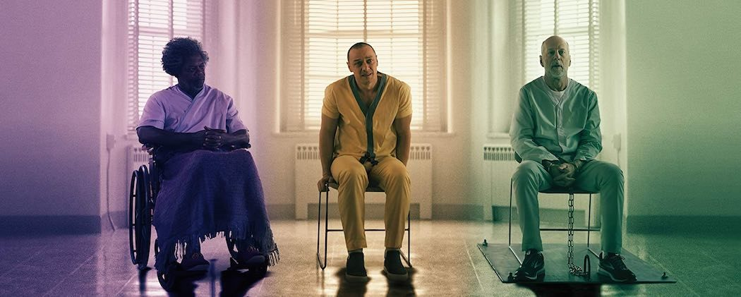 Samuel L. Jackson, Bruce Willis, Sarah Paulson, and James McAvoy in M Night Shyamalan Glass (2019)