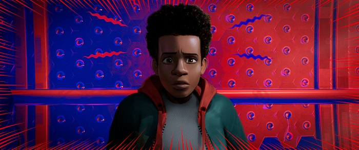 Miles Morales (Shameik Moore) in Columbia Pictures and Sony Pictures Animation's SPIDER-MAN: INTO THE SPIDER-VERSE. Photo Credit Sony Pictures Animation.