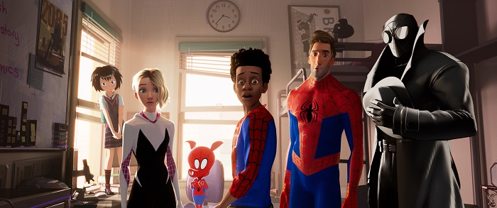 Peni Parker (Kimiko Glenn), Spider-Gwen (Haley Steinfeld), Spider-Ham (John Mulaney), Miles Morales (Shameik Moore), Peter Parker (Jake Johnson), and Spider-Man Noir (Nicolas Cage) in Columbia Pictures and Sony Pictures Animation's SPIDER-MAN: INTO THE SPIDER-VERSE. Photo Credit Sony Pictures Animation.