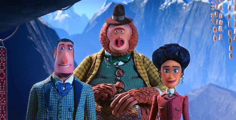 Zach Galifianakis, Hugh Jackman, and Zoe Saldana in Missing Link