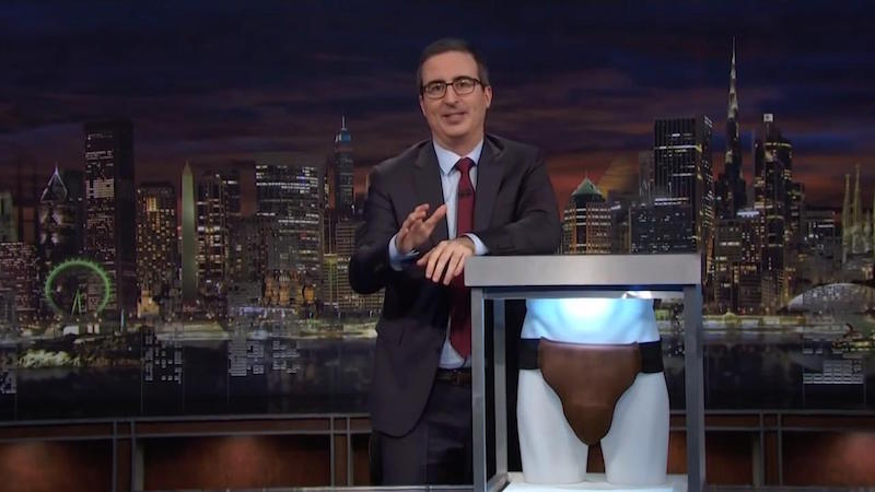 John Oliver displays Russell Crowe's jockstrap/codpiece from Cinderella Man.