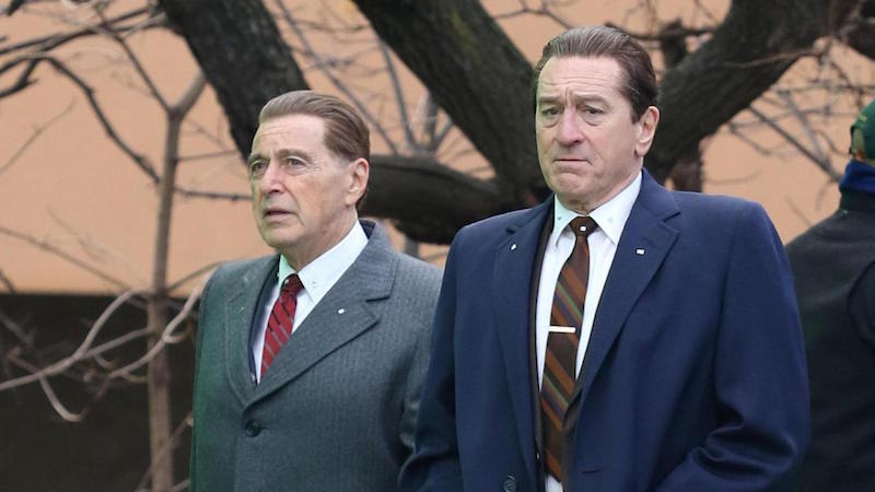 Al Pacino and Robert De Niro filming The Irishman
