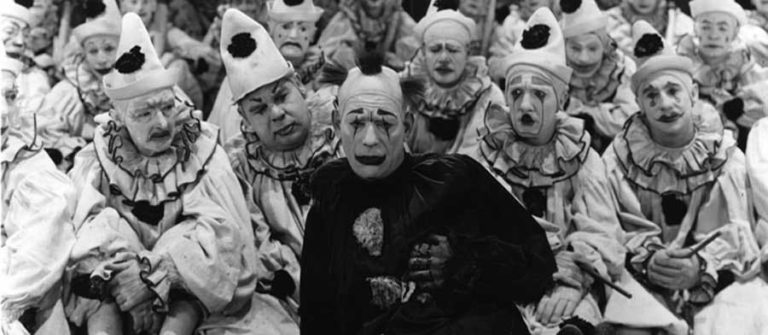 Lon Chaney and the clowns in He Who Gets Slapped
