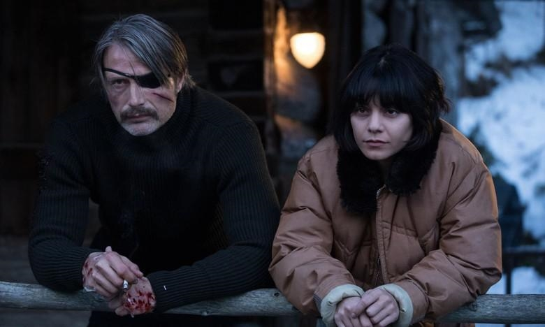 Mads Mikkelsen and Vanessa Hudgens in Polar (2019). Netflix.