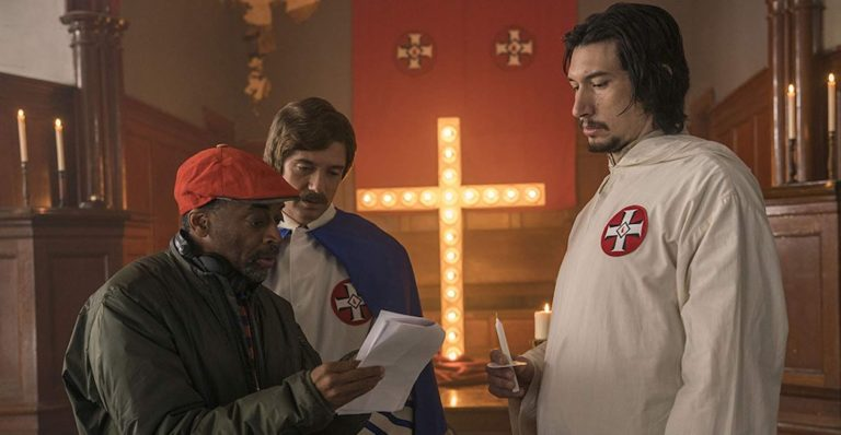 Spike Lee, Topher Grace, and Adam Driver in BlacKkKlansman (2018). Copyright Focus Features.