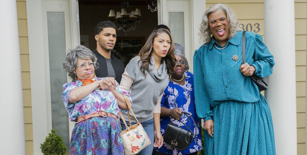 Hattie (Patrice Lovely), Jesse (Rome Flynn), Silvia (Ciera Payton), Aunt Bam (Cassi Davis), and Madea (Tyler Perry) in A MADEA FAMILY FUNERAL. Photo by: Chip Bergman.