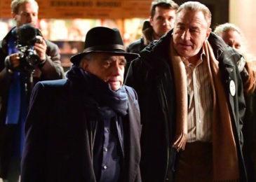 Robert De Niro and Martin Scorsese on set of The Irishman (2019)