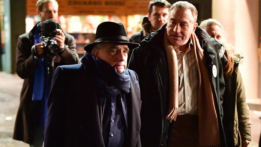 Robert De Niro and Martin Scorsese on set of The Irishman (2019)