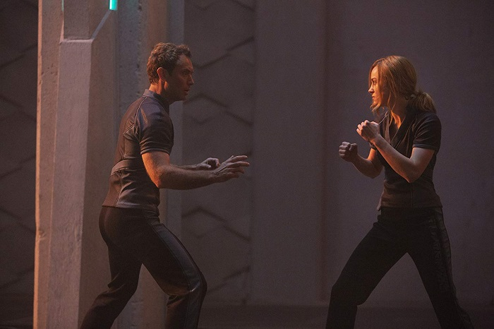Jude Law and Brie Larson in Captain Marvel, image courtesy Marvel Studios/Walt Disney Pictures.