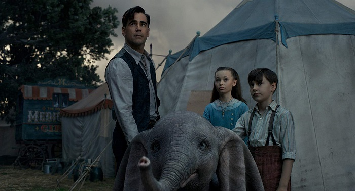 Colin Farrell, Nico Parker, and Finley Hobbins in Dumbo, courtesy Walt Disney Studios Motion Pictures.