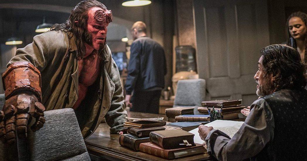 Ian McShane, David Harbour, and Sasha Lane in Hellboy (2019)