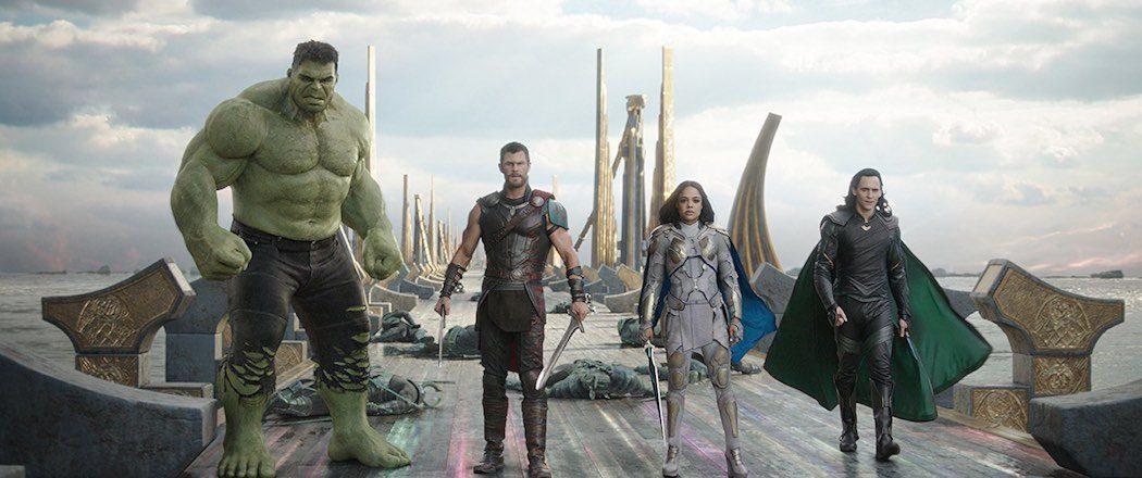 Mark Ruffalo, Tom Hiddleston, Chris Hemsworth, and Tessa Thompson in Thor- Ragnarok (2017)