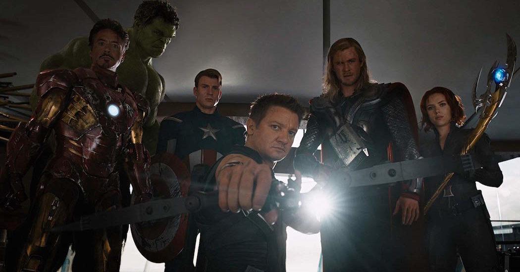 Robert Downey Jr., Chris Evans, Scarlett Johansson, Jeremy Renner, Mark Ruffalo, and Chris Hemsworth in Marvel's The Avengers (2012)