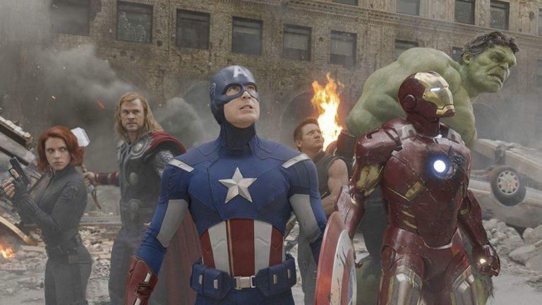 Robert Downey Jr., Chris Evans, Scarlett Johansson, Jeremy Renner, Mark Ruffalo, and Chris Hemsworth in The Avengers (2012)